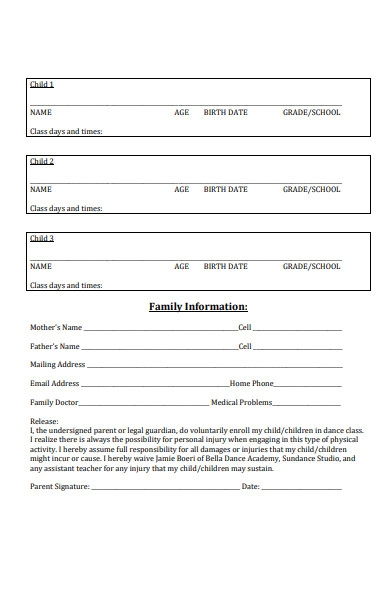dance schedule registration form