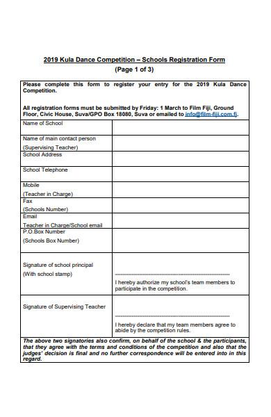 dance school registration form1