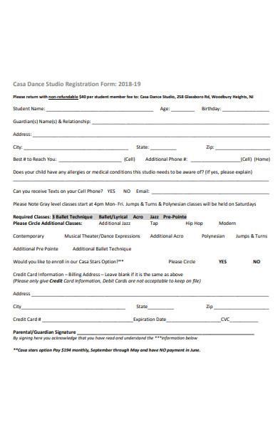 dance season registration form