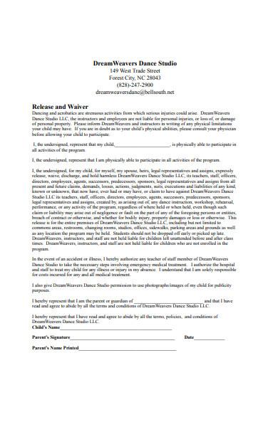 dance studio registration form