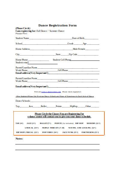 dance training registration form