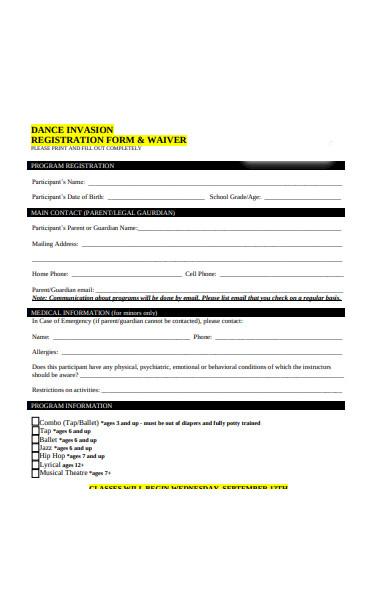 dance wavier registration form