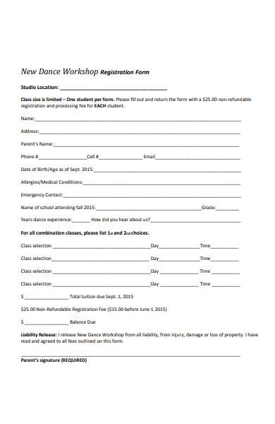 dance workshop registration form