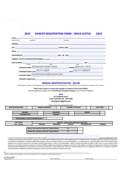 dancer registration form