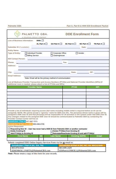 data entry enrolment forms
