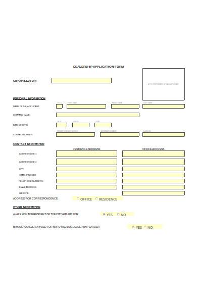dealership application form