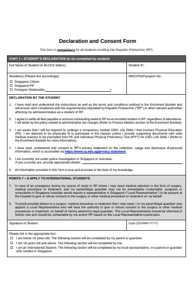 declaration and consent form