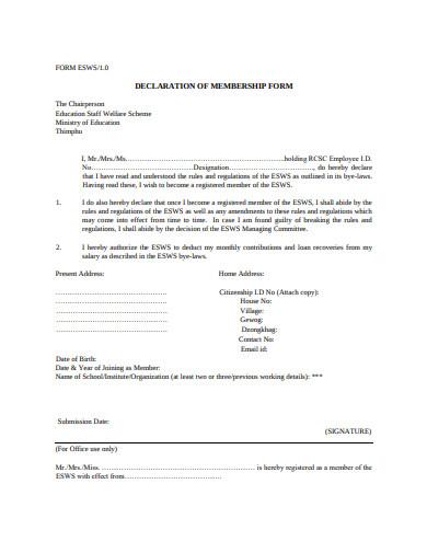 declaration of membership form
