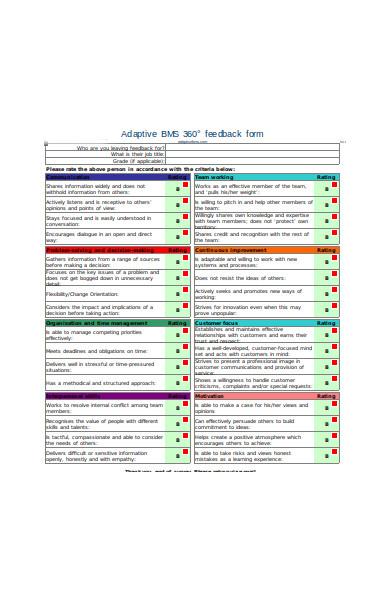 degree feedback form