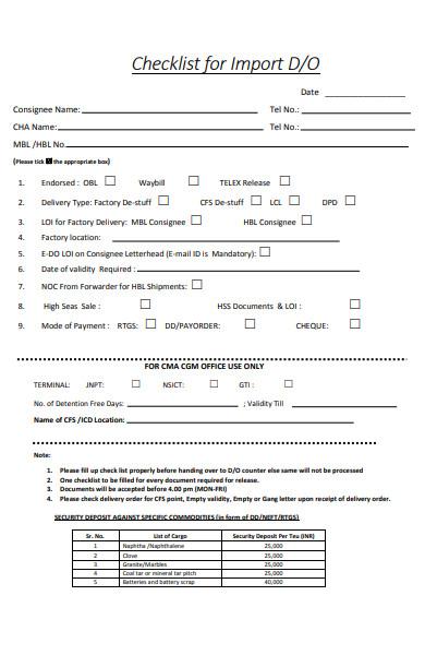 delivery order import checklist form