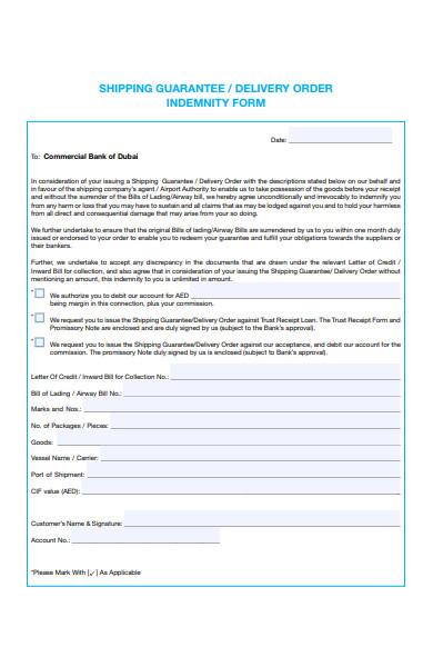 delivery order indemnity form
