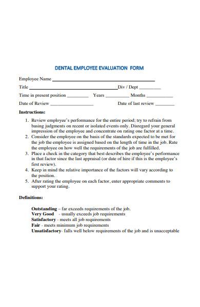 dental employee evaluation form