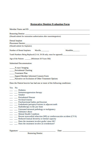 dentist evaluation form