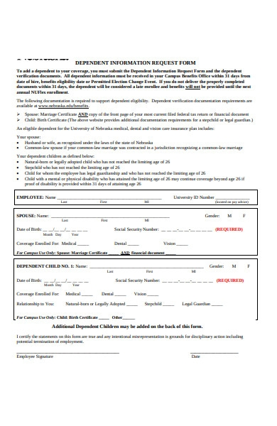 dependent information request form