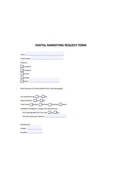 digital marketing request form
