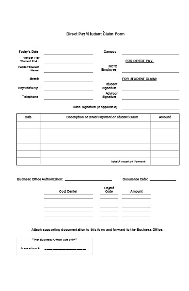 direct pay claim form