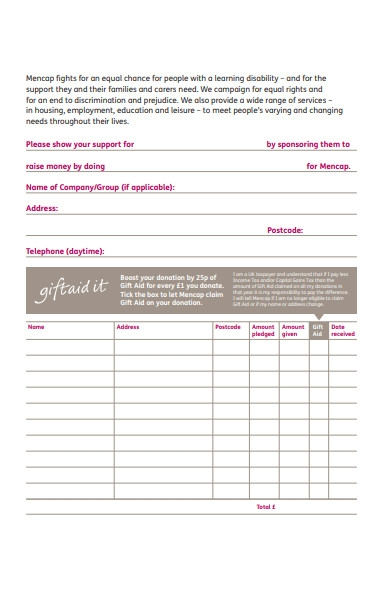 disability sponsorship form