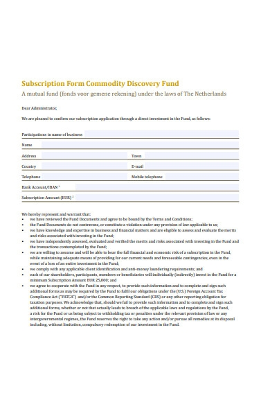 discovery subscription form