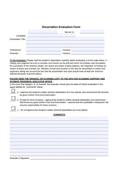 dissertation evaluation form