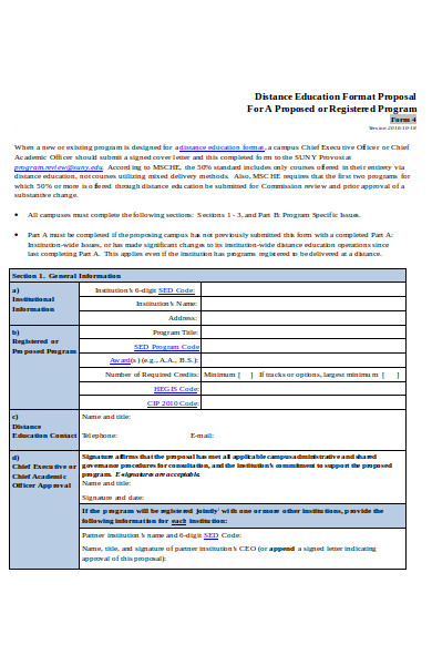 distance education proposal form