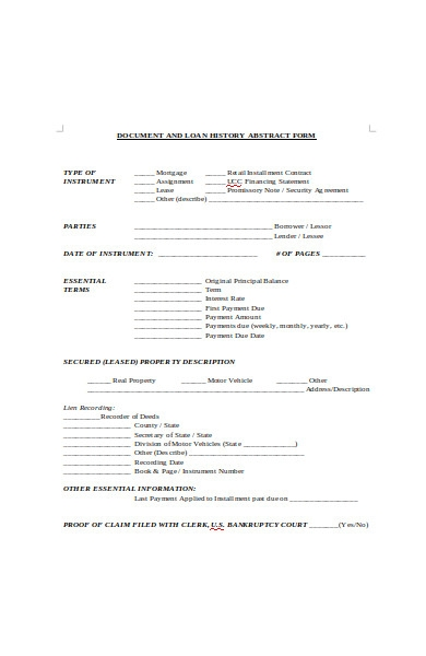 document loan history abstract form