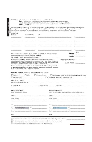domestic order form sample