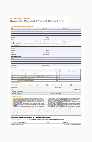 domestic prepaid product order form