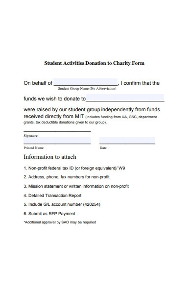 donation charity form