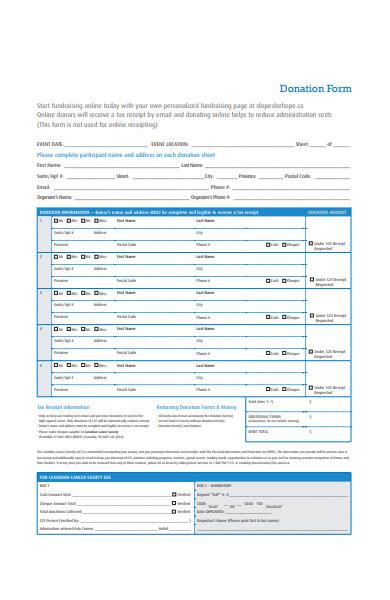 donation hope form