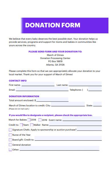 donation information form