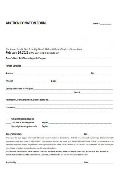 donation order form