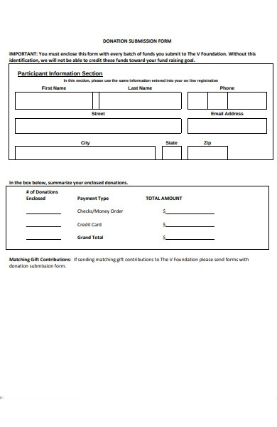 donation submission form