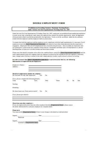 double employment form