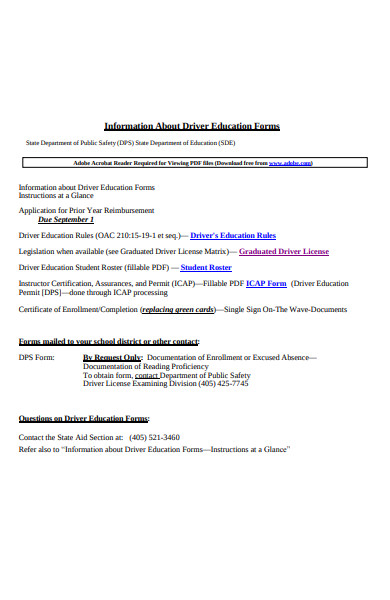 driver education form