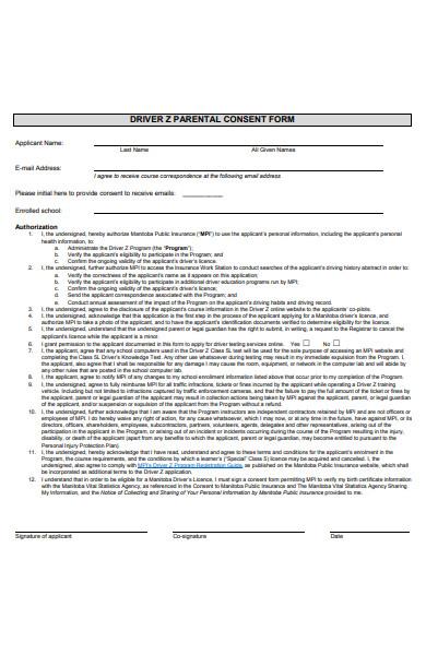 driver parental consent form