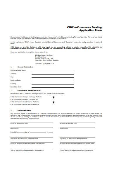 e commerce dealing application form