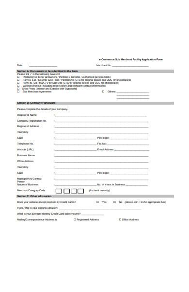 e commerce sub merchant application form