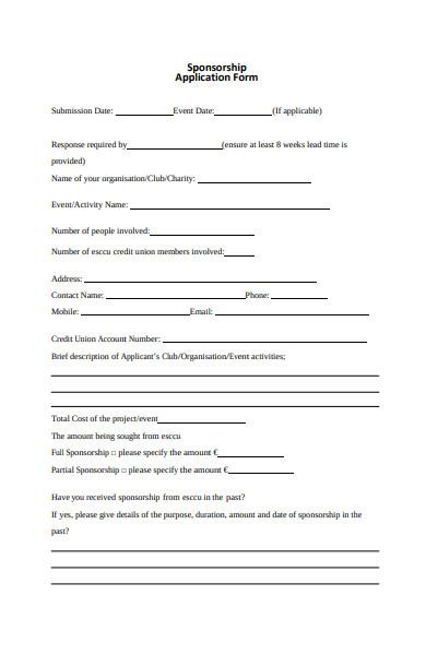 e service sponsorship application form