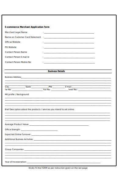 ecommerce merchant application form