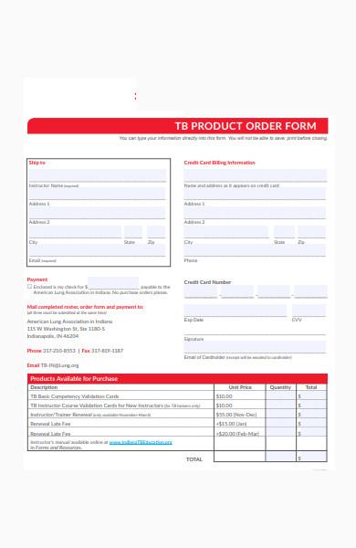 education program product order form