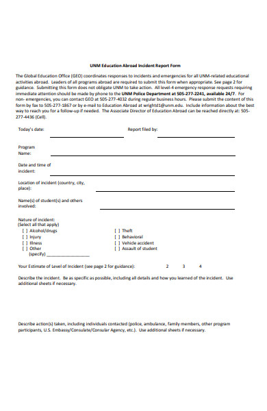 educational abroad incident report form