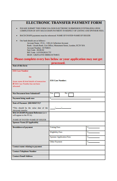 electronic transfer payment form