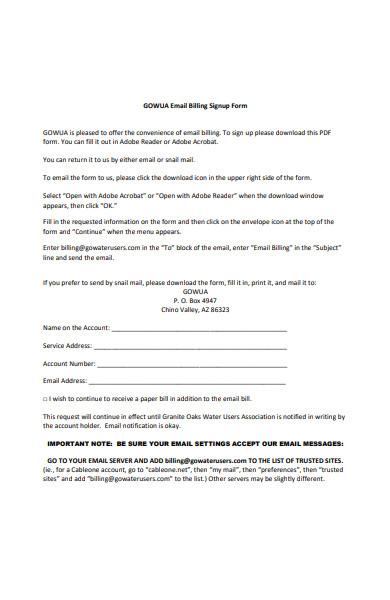email billing signup form