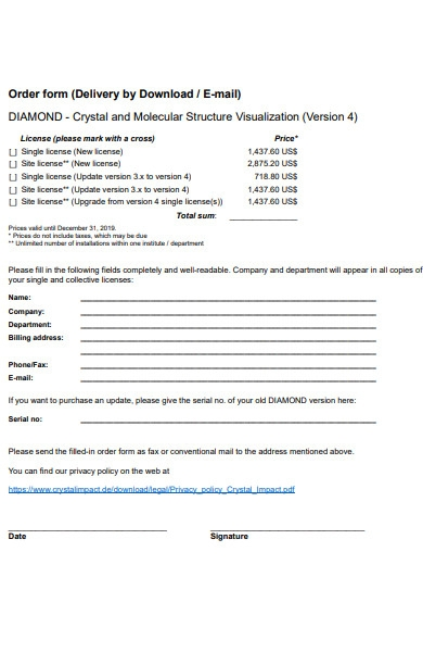 email delivery order form