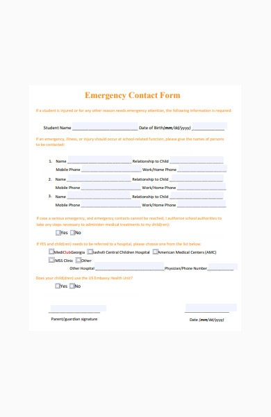 emergency contact form of school