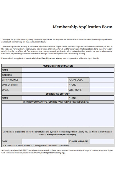 emergency membership application form