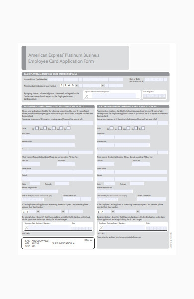 employee business card application form