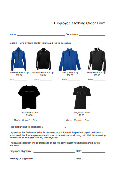 employee clothing order form