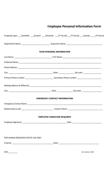 employee detail information form