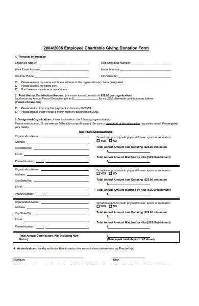 employee donation form